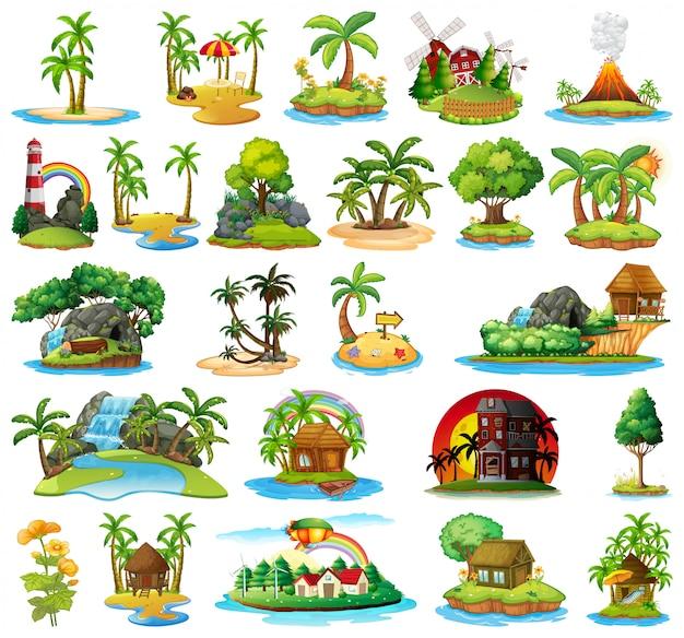 Set of different islands Premium Vector