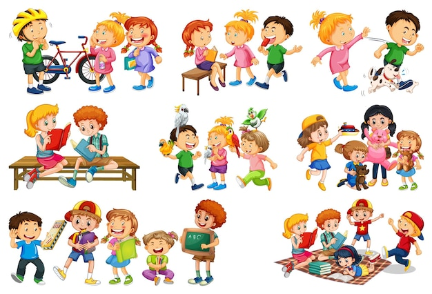 Set of different kid playing with their toys cartoon character isolated on white background Free Vector
