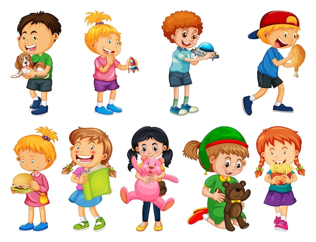 Set of different kid playing with their toys cartoon character isolated on white background Premium Vector