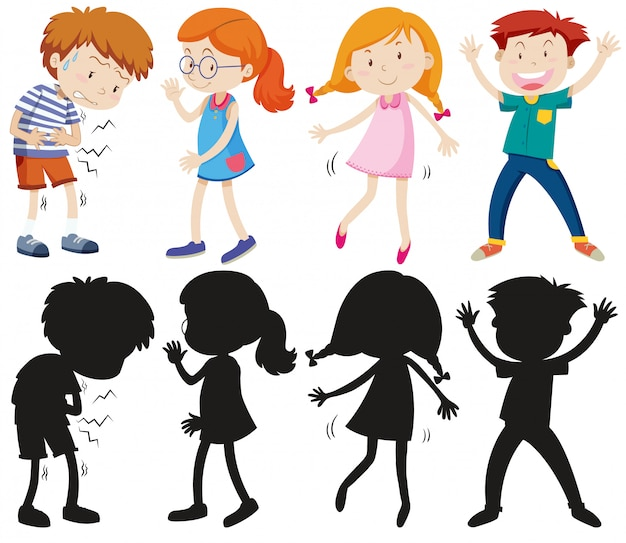Set of different kids with its silhouette Free Vector
