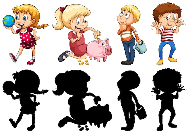 Set of different kids Free Vector