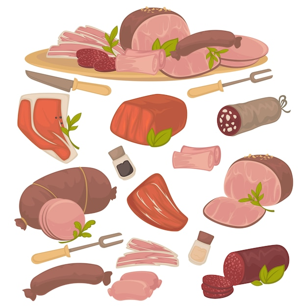Set of different kinds of meat: bacon, pork, beef, sausage, steak, salami and wurst. Premium Vector