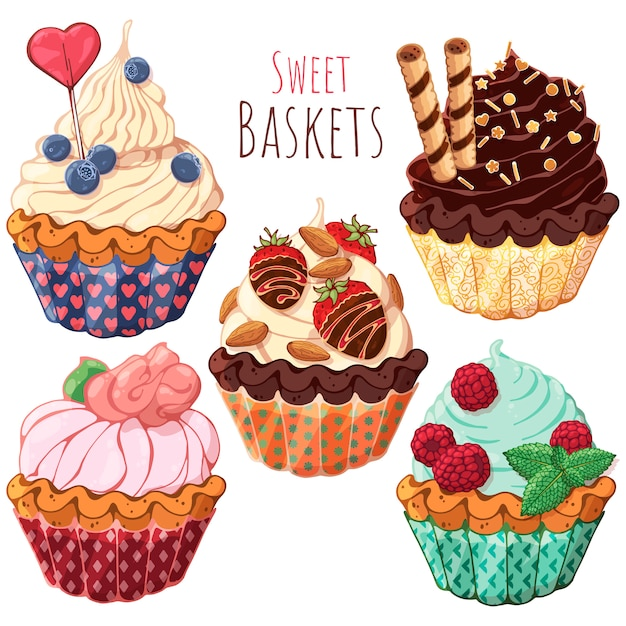 Set of different kinds of sweet baskets with cream decorated with berries, chocolate or nuts. Premium Vector