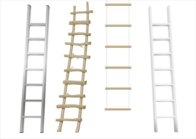 Set of different ladders Premium Vector