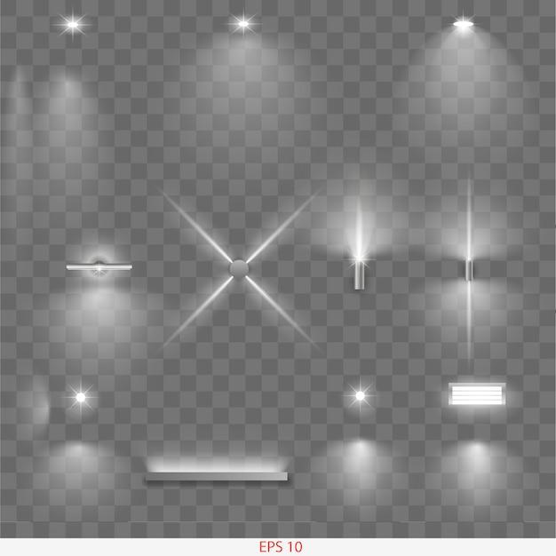 Set of different lamps Premium Vector