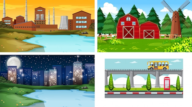 Set of different landscape background Free Vector