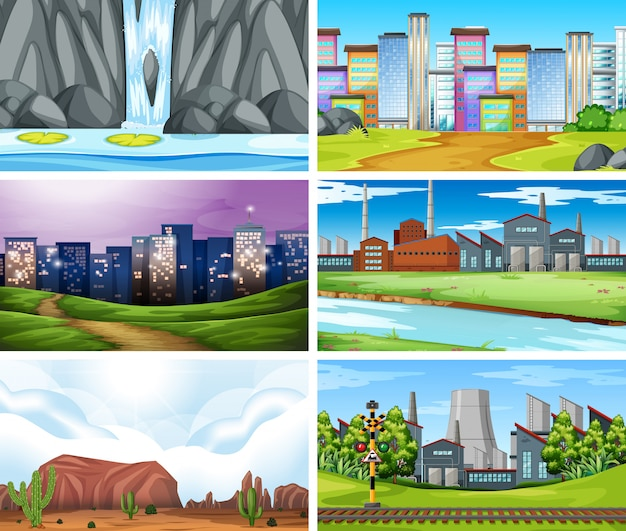 Set of different landscape Free Vector