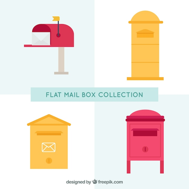 Set of different mailboxes in flat design Free Vector