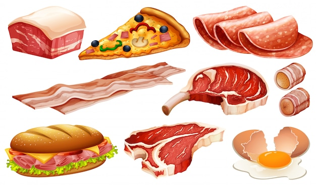 Set of different meat products Free Vector