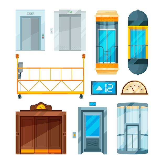 Set of different modern glass elevators Premium Vector