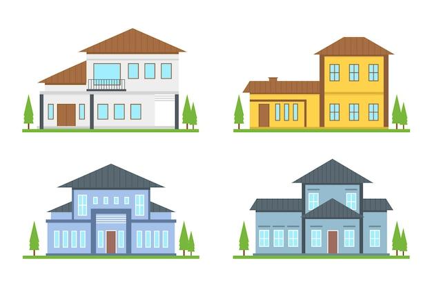 Insieme di diverse case moderne Vettore gratuito