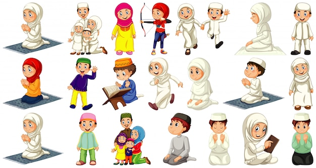 Set of different muslim people cartoon character isolated on white background Free Vector