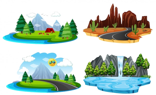 Set of different nature landscape Free Vector