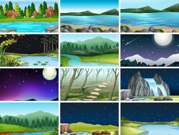 Set of different nature scenes background Free Vector
