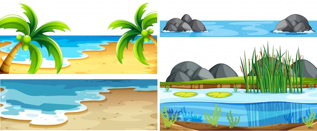 Set of different nature scenes Free Vector