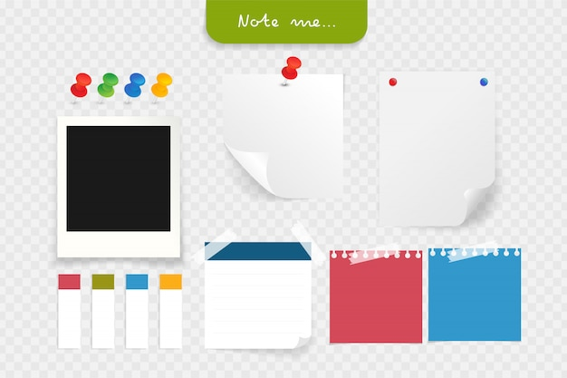 Set of different note papers with clip, pushpin Premium Vector