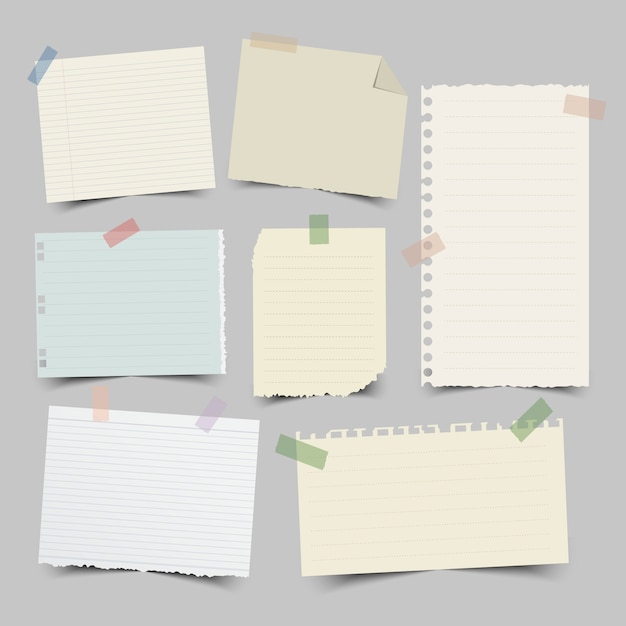 Set of different note papers Premium Vector