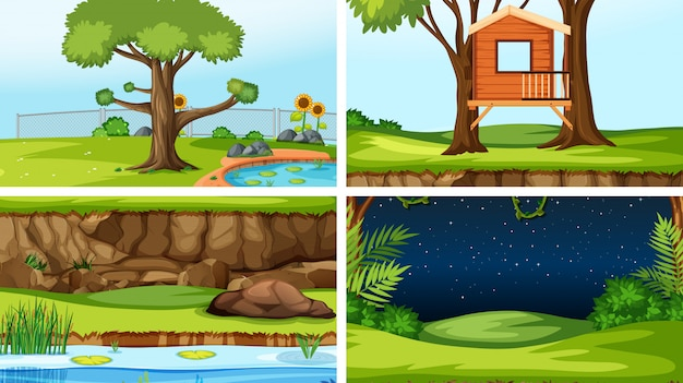 Set of different outdoors scenes background Free Vector