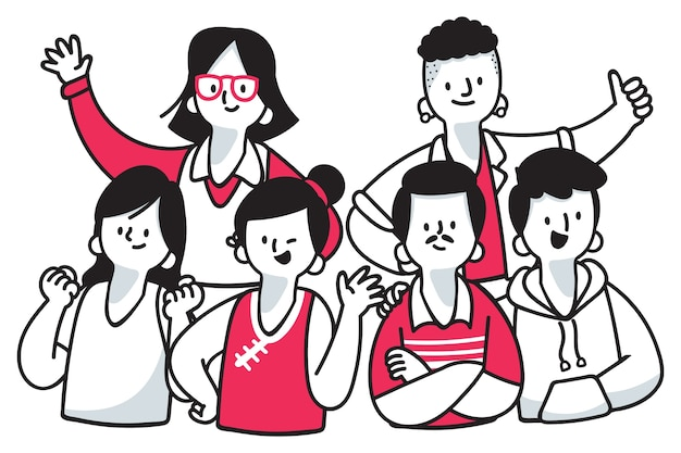 Set of different people together Free Vector