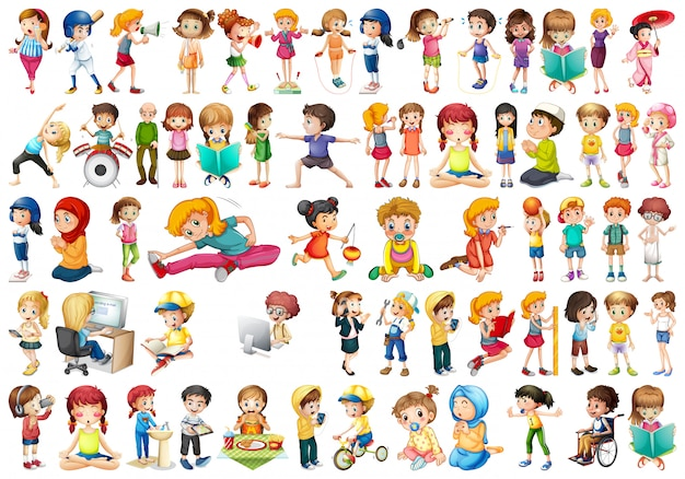 Set of different people Free Vector