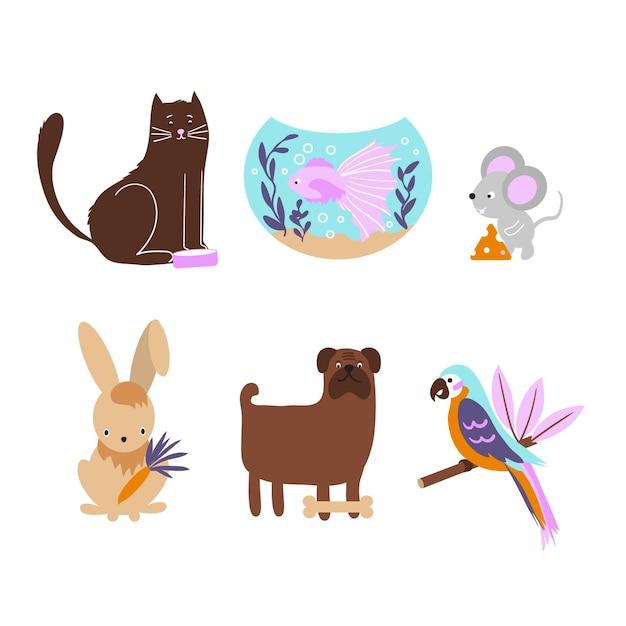 Set di diversi animali domestici Vettore gratuito