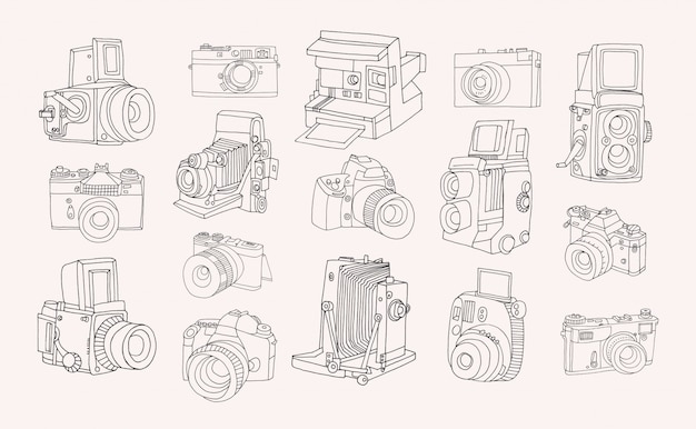 Set of different photo cameras. hand drawn contour collection in doodle style. Premium Vector