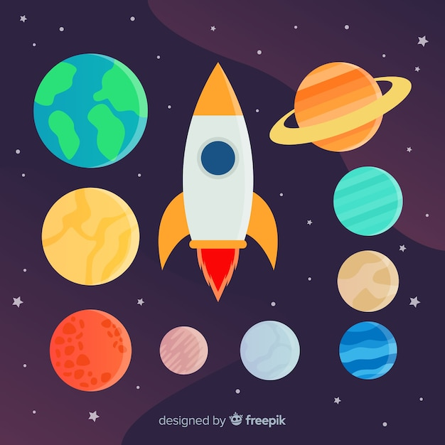 Set of different planets and rocket stickers Free Vector