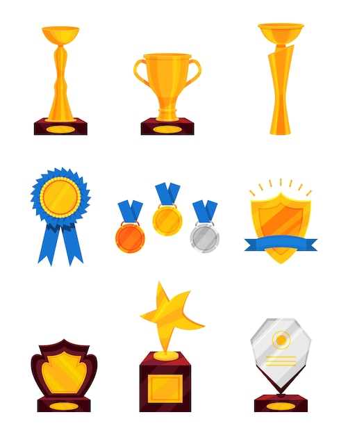 Set of different prizes. shiny golden cups, golden rosette with ribbon, medals, glass award. trophies for winners. Premium Vector