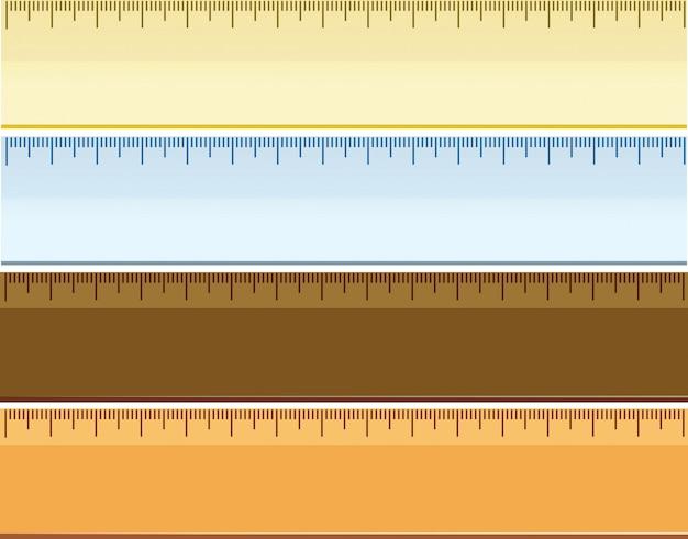 Set of different ruler Premium Vector
