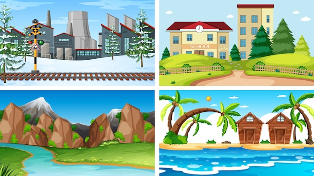 Set di diverse scene di sfondo Vettore gratuito