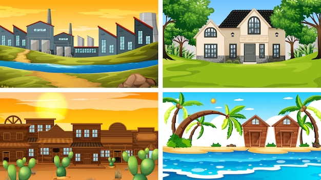 Set of different scenes or background Free Vector
