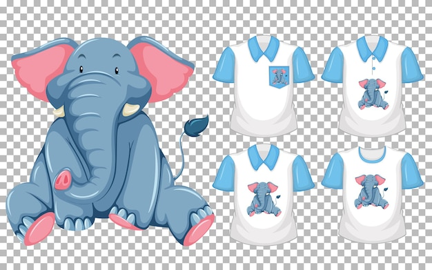 Set of different shirts with elephant cartoon character isolated Free Vector