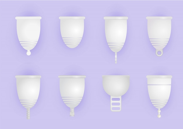 Set of different silicone menstrual cups. eco-friendly, washable intimate product. zero waste supplies for personal hygiene. plastic-free concept. realistic  illustration of woman hygiene. Premium Vector