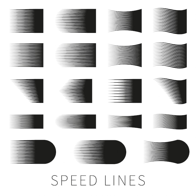 Set of different simple black vector speed line Free Vector