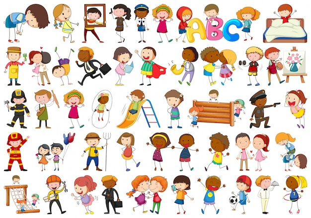 Set of different simple characters Free Vector