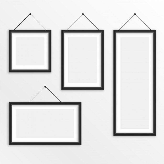 Set Of Different Sizes Hanging Photo Frame Vector Free Download