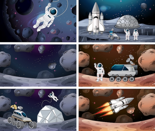 Set of different space scenes background Free Vector