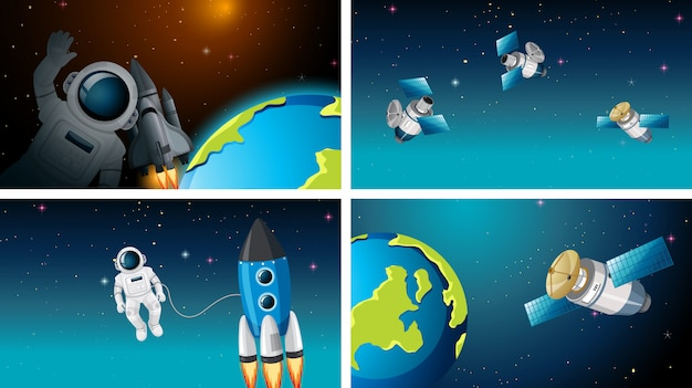Set of different space scenes with astronauts Free Vector