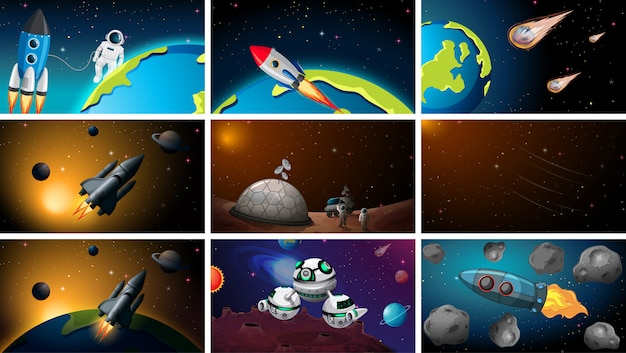 Set of different space scenes Free Vector