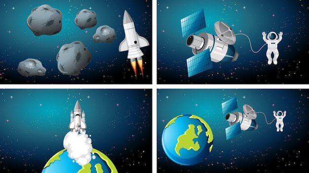 Set of different spaces scenes background Free Vector
