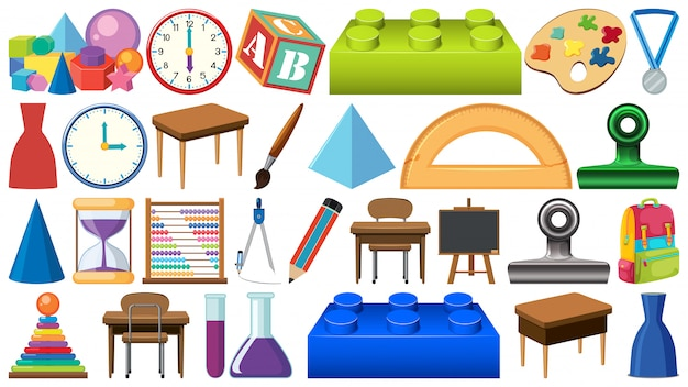 Set of different stationeries Premium Vector