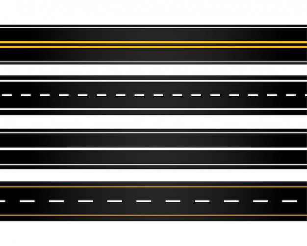 Set of different style roads Free Vector