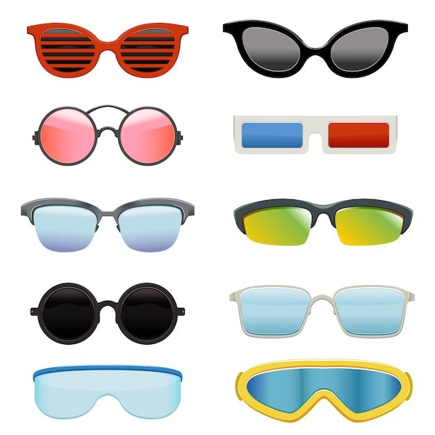 Set of different sun glasses Premium Vector