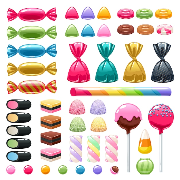 Set of different sweets. assorted candies. Premium Vector