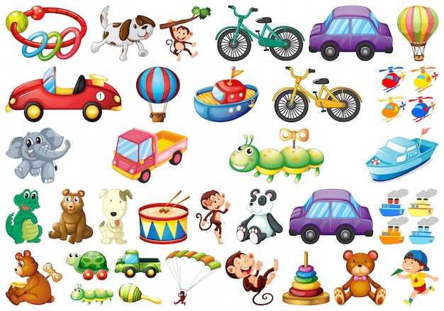 Set of different toys Free Vector