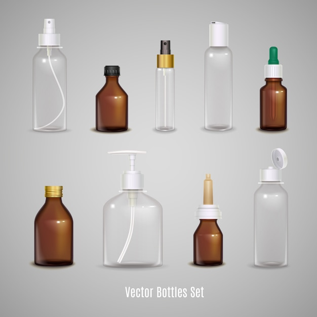 Set of different transparent empty bottles Free Vector