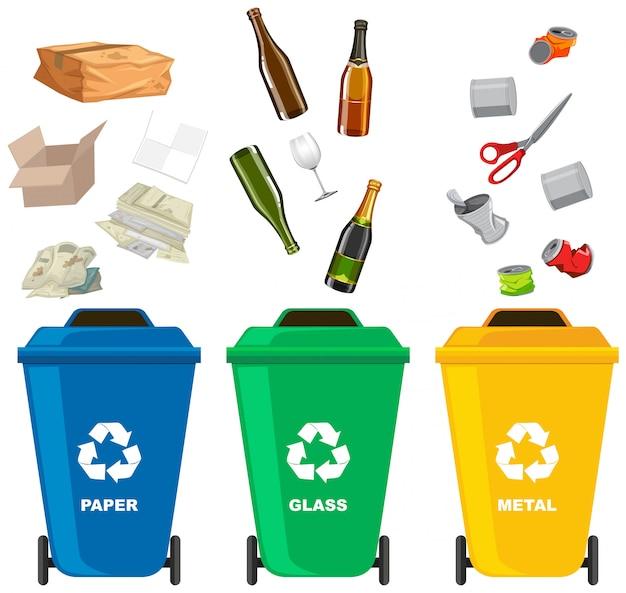Set of different trash bin Premium Vector