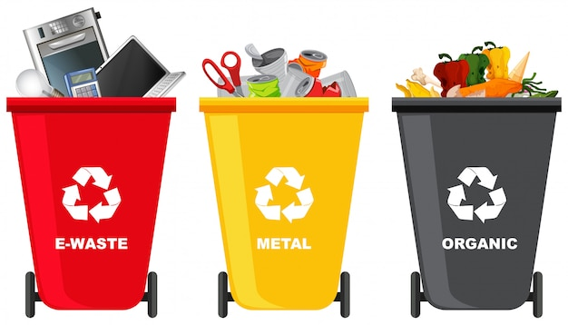 Set of different trash can Free Vector