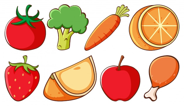 Set of different types of fruits and vegetables Free Vector