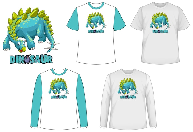Set of different types of shirt in dinosaur theme with dinosaur logo Free Vector